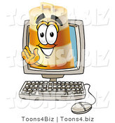 Illustration of a Construction Safety Barrel Mascot Waving from Inside a Computer Screen by Toons4Biz