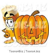 Illustration of a Construction Safety Barrel Mascot with a Carved Halloween Pumpkin by Toons4Biz