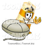 Illustration of a Construction Safety Barrel Mascot with a Computer Mouse by Toons4Biz