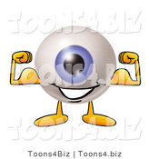 Illustration of a Eyeball Mascot Flexing His Arm Muscles by Toons4Biz