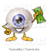 Illustration of a Eyeball Mascot Holding a Dollar Bill by Toons4Biz