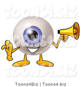 Illustration of a Eyeball Mascot Holding a Megaphone by Toons4Biz