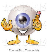 Illustration of a Eyeball Mascot Holding a Pencil by Toons4Biz