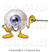 Illustration of a Eyeball Mascot Holding a Pointer Stick by Toons4Biz