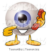 Illustration of a Eyeball Mascot Holding a Telephone by Toons4Biz