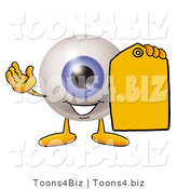 Illustration of a Eyeball Mascot Holding a Yellow Sales Price Tag by Toons4Biz