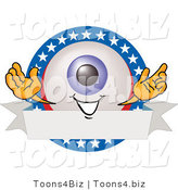 Illustration of a Eyeball Mascot on a Blank American Themed Label by Toons4Biz