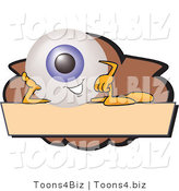 Illustration of a Eyeball Mascot on a Blank Brown and Tan Label by Toons4Biz