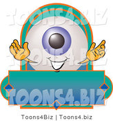Illustration of a Eyeball Mascot on a Blank Business Label by Toons4Biz