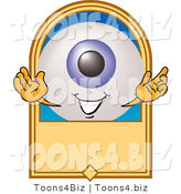 Illustration of a Eyeball Mascot on a Blank Tan Label by Toons4Biz
