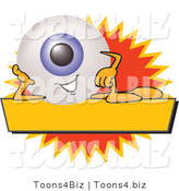 Illustration of a Eyeball Mascot on a Blank Yellow and Orange Label by Toons4Biz