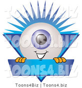 Illustration of a Eyeball Mascot on a Blue Business Label by Toons4Biz