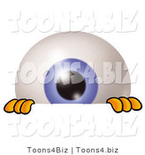 Illustration of a Eyeball Mascot Peeking over a Surface by Toons4Biz