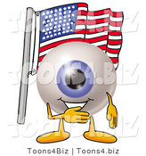 Illustration of a Eyeball Mascot Pledging Allegiance to an American Flag by Toons4Biz