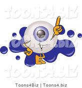 Illustration of a Eyeball Mascot Pointing Upwards and Standing in Front of a Blue Paint Splatter on a Logo by Toons4Biz