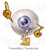 Illustration of a Eyeball Mascot Pointing Upwards by Toons4Biz