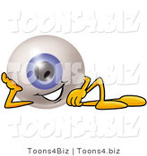 Illustration of a Eyeball Mascot Resting His Head on His Hand by Toons4Biz