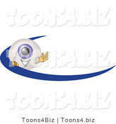 Illustration of a Eyeball Mascot Waving and Standing Behind a Blue Dash on an Employee Nametag or Business Logo by Toons4Biz