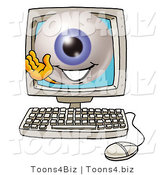Illustration of a Eyeball Mascot Waving from Inside a Computer Screen by Toons4Biz