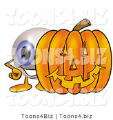 Illustration of a Eyeball Mascot with a Carved Halloween Pumpkin by Toons4Biz