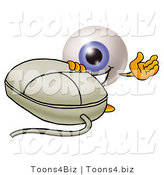 Illustration of a Eyeball Mascot with a Computer Mouse by Toons4Biz