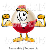 Illustration of a Fishing Bobber Mascot Flexing His Arm Muscles by Toons4Biz