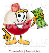 Illustration of a Fishing Bobber Mascot Holding a Dollar Bill by Toons4Biz