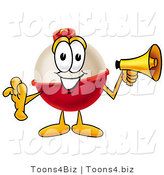 Illustration of a Fishing Bobber Mascot Holding a Megaphone by Toons4Biz