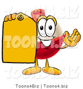 Illustration of a Fishing Bobber Mascot Holding a Yellow Sales Price Tag by Toons4Biz