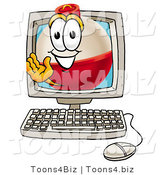 Illustration of a Fishing Bobber Mascot Waving from Inside a Computer Screen by Toons4Biz