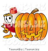 Illustration of a Fishing Bobber Mascot with a Carved Halloween Pumpkin by Toons4Biz