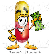 Illustration of a Medical Pill Capsule Mascot Holding a Dollar Bill by Toons4Biz