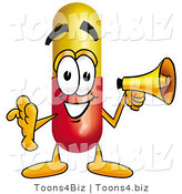 Illustration of a Medical Pill Capsule Mascot Holding a Megaphone by Toons4Biz