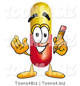 Illustration of a Medical Pill Capsule Mascot Holding a Pencil by Toons4Biz