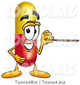 Illustration of a Medical Pill Capsule Mascot Holding a Pointer Stick by Toons4Biz