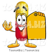 Illustration of a Medical Pill Capsule Mascot Holding an Orange Sales Price Tag by Toons4Biz
