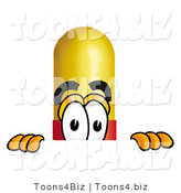 Illustration of a Medical Pill Capsule Mascot Peeking over a Surface by Toons4Biz