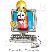 Illustration of a Medical Pill Capsule Mascot Waving from Inside a Computer Screen by Toons4Biz