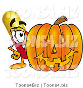 Illustration of a Medical Pill Capsule Mascot with a Carved Halloween Pumpkin by Toons4Biz