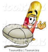 Illustration of a Medical Pill Capsule Mascot with a Computer Mouse by Toons4Biz