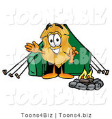 Illustration of a Police Badge Mascot Camping with a Tent and Fire by Toons4Biz