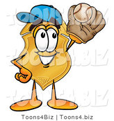 Illustration of a Police Badge Mascot Catching a Baseball with a Glove by Toons4Biz