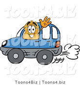 Illustration of a Police Badge Mascot Driving a Blue Car and Waving by Toons4Biz