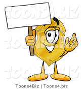 Illustration of a Police Badge Mascot Holding a Blank Sign by Toons4Biz
