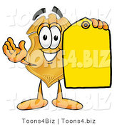 Illustration of a Police Badge Mascot Holding a Blank Yellow Price Tag for a Sale by Toons4Biz