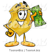 Illustration of a Police Badge Mascot Holding a Dollar Bill by Toons4Biz