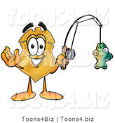 Illustration of a Police Badge Mascot Holding a Fish on a Fishing Pole by Toons4Biz