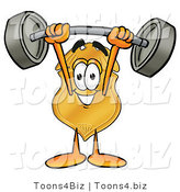 Illustration of a Police Badge Mascot Holding a Heavy Barbell Above His Head by Toons4Biz