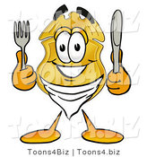 Illustration of a Police Badge Mascot Holding a Knife and Fork by Toons4Biz
