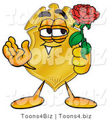Illustration of a Police Badge Mascot Holding a Red Rose on Valentines Day by Toons4Biz